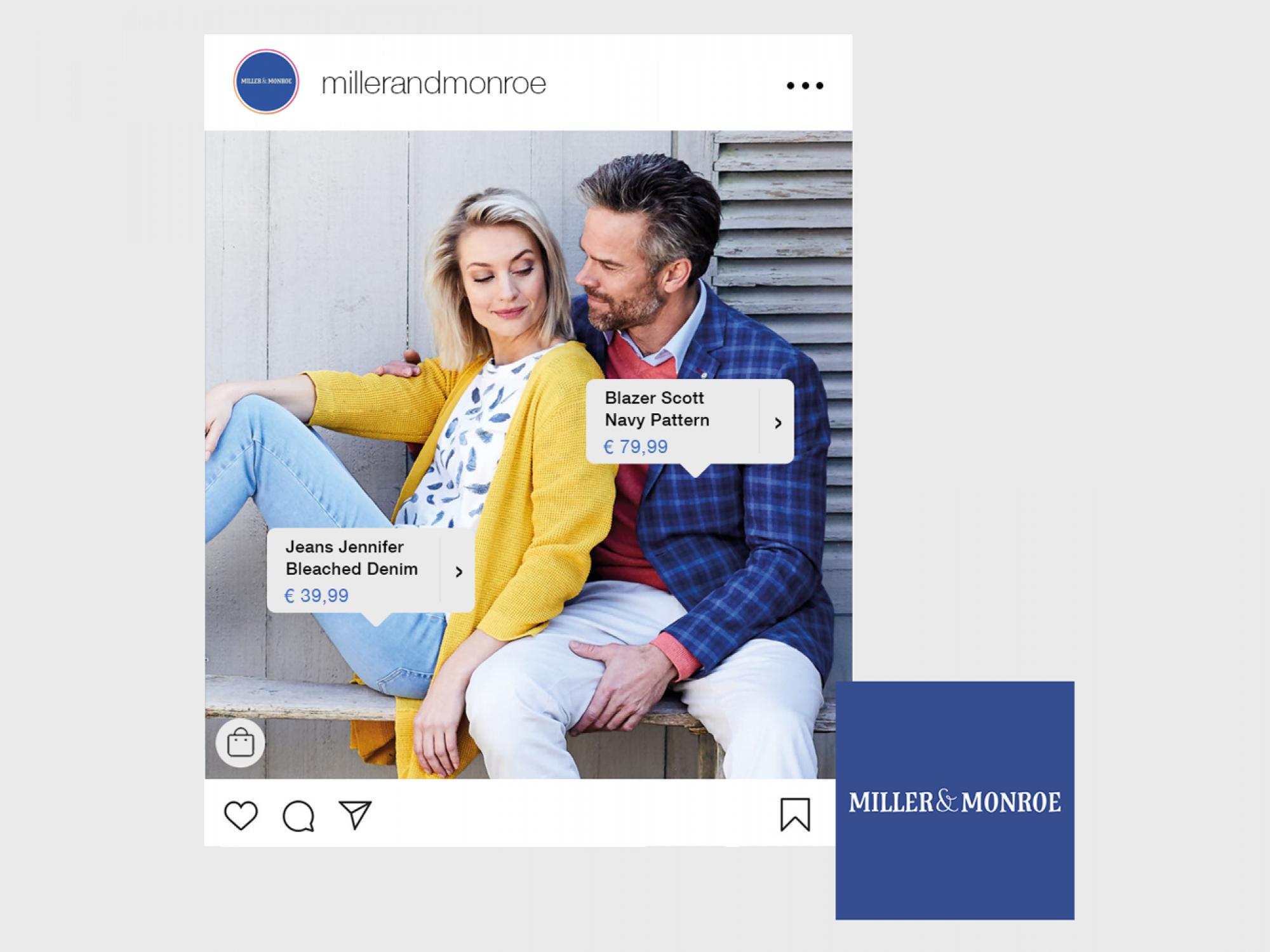 Instagram shopping functie voor Miller & Monroe